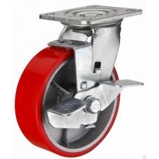 Колесная опора большегрузная  поворотная с тормозом 100мм (SCPB 42)